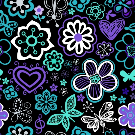 Seamless texture with flowers and butterflies. Endless floral pattern Ilustracja