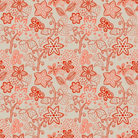 Floral Seamless Texture with a Strawberry. Bright background, summer theme seamless pattern, vector wallpaper, summer texture, wrapping with flowers, spring and summer theme for your design Vector