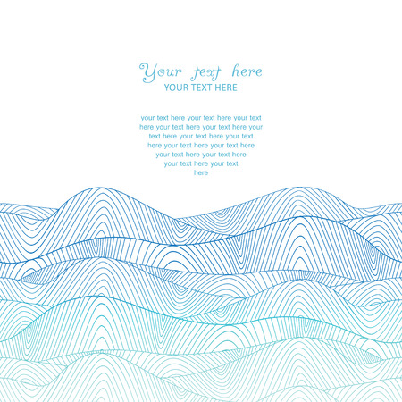 behang blauw: kleurrijke abstracte handgetekende patroon, golven achtergrond