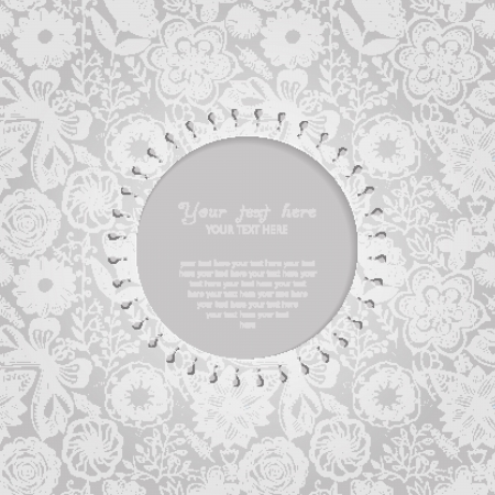 Ornamental round lace frame. Background for celebrations, holidays, sewing, arts, crafts, scrapbooks, setting table, cake decorating. Lace doily. Vector