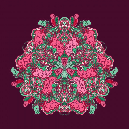 Ornamental round lace pattern, circle background with many details, looks like crocheting handmade lace, lacy arabesque designs. Orient traditional ornament. Oriental motif Vector