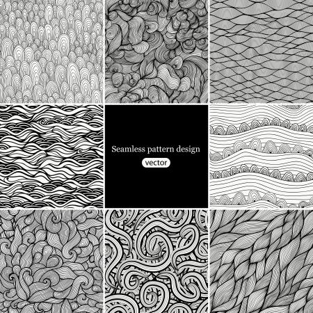 tilable: Set di otto modelli di onda in bianco e nero (senza soluzione di continuit� piastrelle). Seamless pattern pu� essere utilizzato per carta da parati, riempimenti a motivo, sfondo della pagina web, texture di superficie. Splendida onda sfondo senza soluzione di continuit�