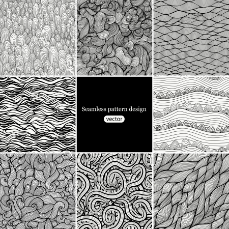 Set of eight black and white wave patterns (seamlessly tiling).Seamless pattern can be used for wallpaper, pattern fills, web page background,surface textures. Gorgeous seamless wave background Vector