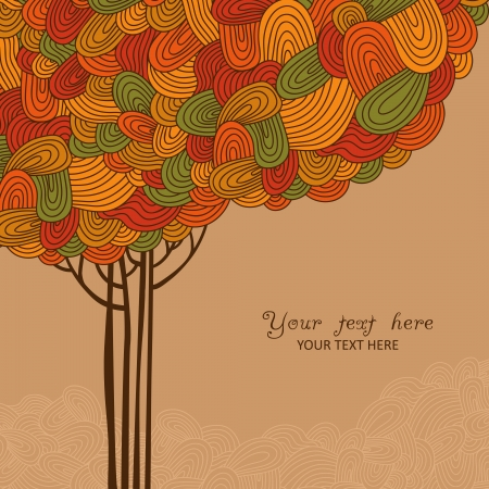 Abstract autumn tree illustration made of waves for your design Vector