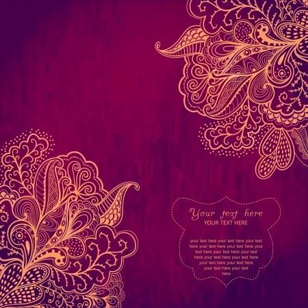 vintage: Vintage inbjudningskort på grunge bakgrund med spets prydnad. Mall ramkonstruktion för kort. Vintage Lace Doily.Can användas till förpackningar, invitatio ns, Alla hjärtans dag dekoration, väska mall.