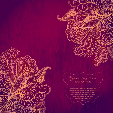 indianen: Vintage uitnodigingskaart op grunge achtergrond met kant ornament. Frame ontwerp sjabloon voor kaart. Vintage Lace Doily.Can worden gebruikt voor het verpakken, invitatio ns, Valentijnsdag decoratie, zak sjabloon. Stock Illustratie