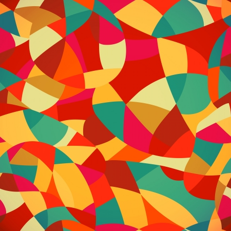 snippet: Bright colors mosaic seamless pattern, vector illustration looks like patchwork or stained-glass window.Abstract pattern with geometric motifs. Illustration