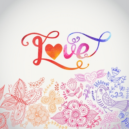 Love vector watercolor lettering. Watercolor letters love text doodles, valentines day decor elements. Floral doodles ornament decor. Vector
