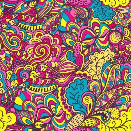 抽象的な花とのシームレスなテクスチャをベクトルします。無限の背景。民族のシームレスなパターン。ベクトルの背景。明るいパターン。夏のテ