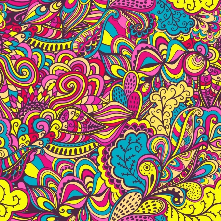 brillante: Vector seamless texture con fiori astratti. Sfondo infinito. Ethnic seamless. Vector sfondo. Reticolo luminoso. Modello estivo. Utilizzare per carta da parati, riempimenti a motivo, sfondo della pagina web