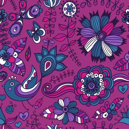 Seamless texture di fiori, uccelli e farfalle. Seamless pattern può essere utilizzato per carta da parati, riempimenti a motivo, sfondo della pagina web, texture di superficie. Splendida seamless sfondo floreale Archivio Fotografico - 25326320