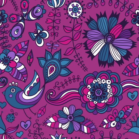Seamless texture with flowers, birds and butterflies. Seamless pattern can be used for wallpaper, pattern fills, web page background,surface textures. Gorgeous seamless floral background Vector
