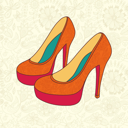 high heeled: high-heeled vintage shoes with flowers fabric  High heels background with place for you text
