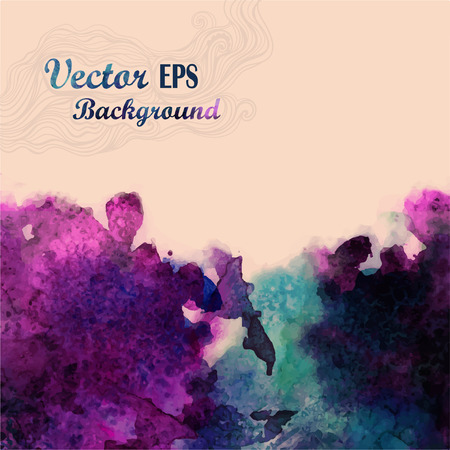 Vector watercolor background for textures and backgrounds  Abstract watercolor background  Hand drawn watercolor backdrop, stain watercolors colors on wet paper  Composition for scrapbooking Vector