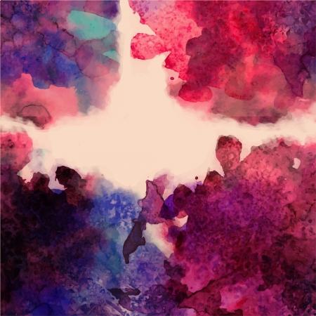 手描きを抽象的な水彩画の背景、ベクトル図、染色水彩色濡れた紙に濡れた。テキスト メッセージのための空スペースでスクラップ ブック要素の水  イラスト・ベクター素材