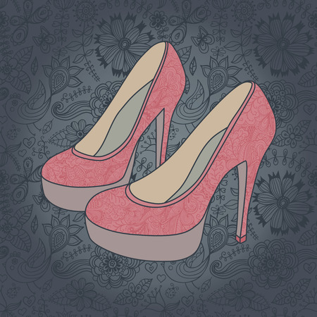 high-heeled vintage shoes with flowers fabric  High heels background with place for you text Illusztráció
