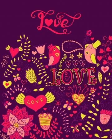 love letters: Love vector watercolor lettering. Watercolor letters love text doodles, valentines day decor elements. Floral doodles ornament decor. Illustration