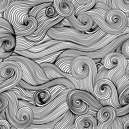 Seamless wave hand-drawn pattern, waves background (seamlessly tiling).Can be used for wallpaper, pattern fills, web page background,surface textures. Gorgeous seamless floral background Vector