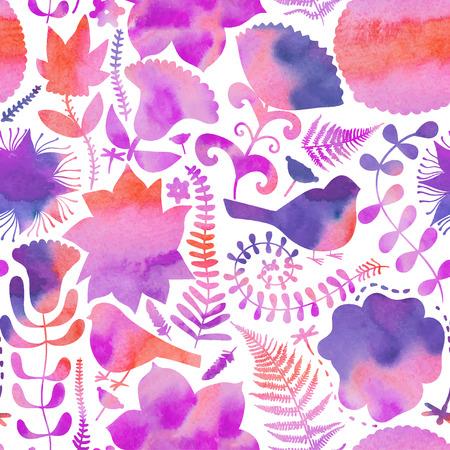 Aquarel textuur met bloemen en vogels Kopieer dat plein aan de kant, je krijgt naadloos naast elkaar patroon waarin het resulterende beeld de mogelijkheid om te worden herhaald of tegels zonder zichtbare naden geeft Stock Illustratie