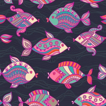 resulting: Fish pattern in abstract style. Copy square to the side and youll get seamlessly tiling pattern which gives the resulting image ability to be repeated or tiled without visible seams.