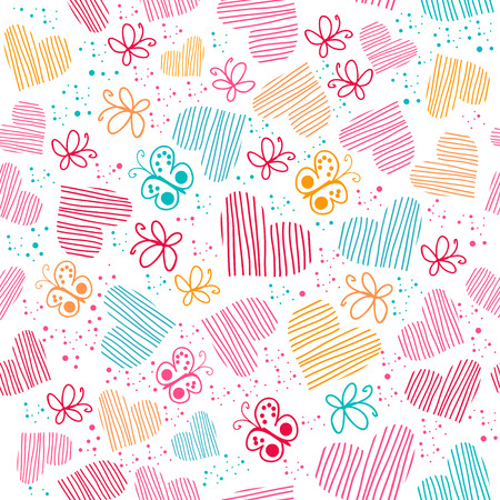 Romantic seamless pattern with hearts, and butterflies. Vector