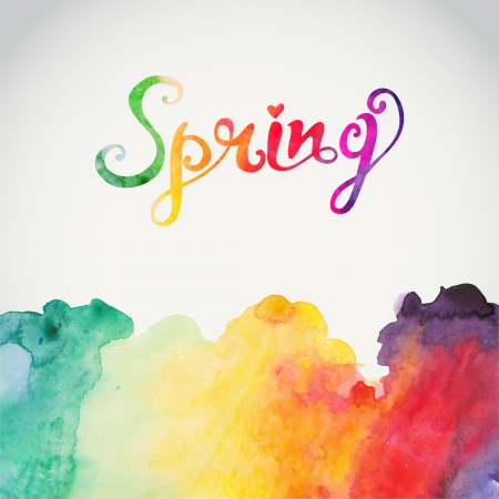 """Spring"" vector watercolor lettering. Abstract hand drawn watercolor background,vector illustration. Watercolor composition for scrapbook elements with empty space for text message."