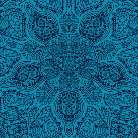 scrollwork: ornamental round lace pattern, circle background with many details, looks like crocheting handmade lace Illustration
