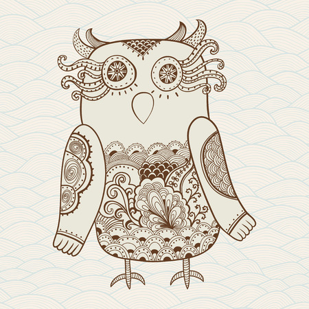 Cute Decorative Owl, vector illustration  Lacy bird  Vector