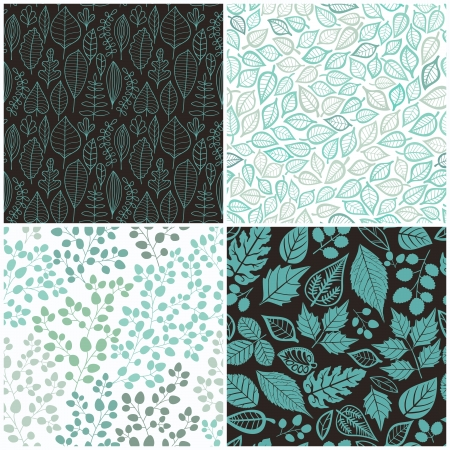 Set of Four Seamless Pattern With Leaf.  Vector