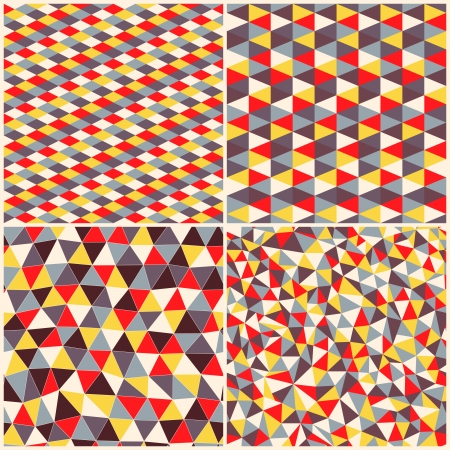 rhombic: Set of four geometric pattern. Texture with triangles, rhombs.Mosaic. Abstract hand-drawn pattern, waves background. ?an be used for wallpaper, pattern fills, web page background, surface textures.