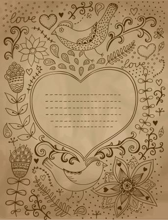 blumen verzierung: Retro Hintergrund mit floralen Ornament und Herz in der Mitte.