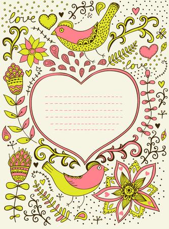 blumen verzierung: Retro Hintergrund mit floralen Ornament und Herz in der Mitte k�nnen Sie Karten, Notizbuchabdeckung und so weiter Blumenverzierung Herz-Form mit Platz f�r Ihren Text Valentine s Day Hintergrund Design