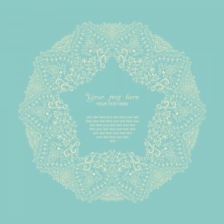 cake decorating: Ornamental round lace frame. Background for celebrations, holidays, sewing, arts, crafts, scrapbooks, setting table, cake decorating. Lace doily. Illustration
