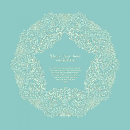 cake decorating: Ornamental round lace frame. Background for celebrations, holidays, sewing, arts, crafts, scrapbooks, setting table, cake decorating. Lace doily. Illustration