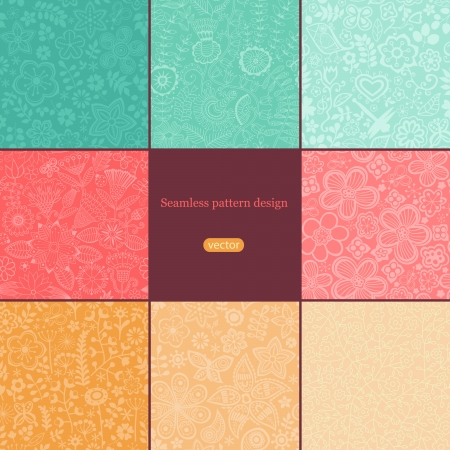 Set of eight colorful floral patterns (seamlessly tiling). Vector
