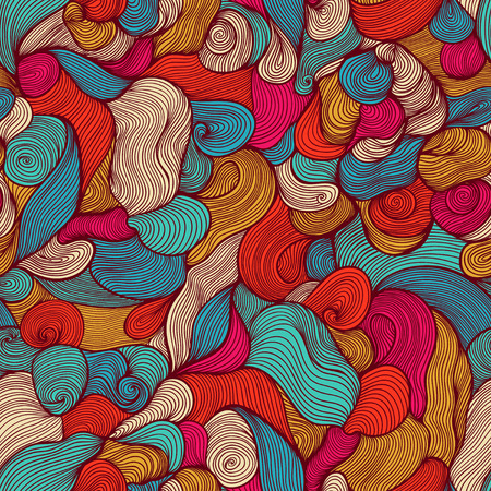 Seamless abstract hand-drawn waves pattern, wavy background  Seamless pattern can be used for wallpaper, pattern fills, web page background,surface textures  Gorgeous seamless floral background Vector