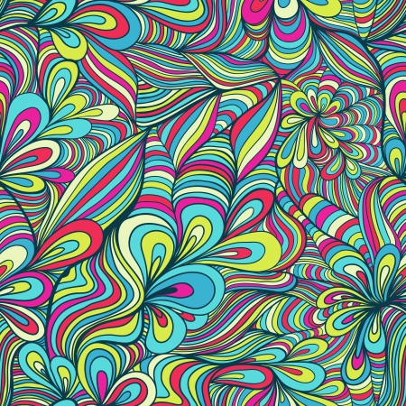 seamless pattern: colorful seamless abstract hand-drawn pattern, waves background
