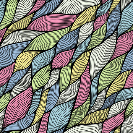 psychoanalysis: Seamless abstract hand-drawn waves pattern, wavy background  Seamless pattern can be used for wallpaper, pattern fills, web page background,surface textures  Gorgeous seamless floral background Illustration