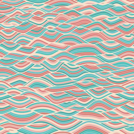 psychoanalysis: Seamless abstract hand-drawn waves pattern, wavy background   Illustration