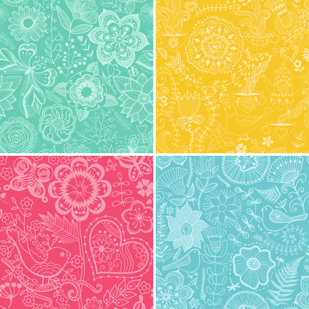 seamlessly: Set of four floral patterns (seamlessly tiling).   Illustration