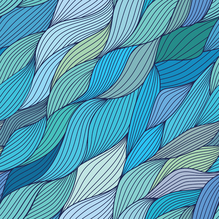 seamlessly: Seamless wave hand-drawn pattern, waves background (seamlessly tiling) Illustration