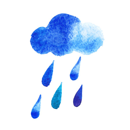 dampness: vector watercolor rain drops, seamless background with stylized blue raindrops