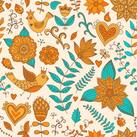 Seamless texture with flowers, birds and butterflies.  Vector