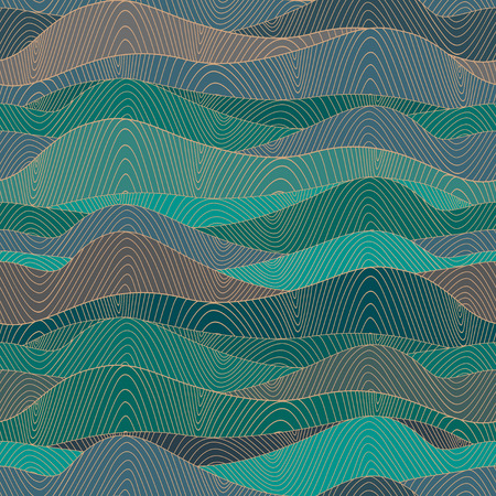 Abstract hand-drawn waves texture, wavy background  Colorful waves backdrop  Vector