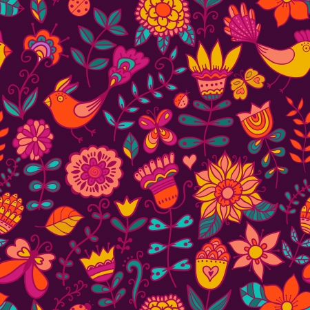 Seamless texture with flowers and birds. Endless floral pattern. Vector
