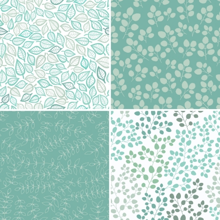 Set of Four Seamless Pattern With Leaf. Abstract leaf texture, endless background.Seamless pattern can be used for wallpaper, pattern fills, web page background, surface textures. Vector