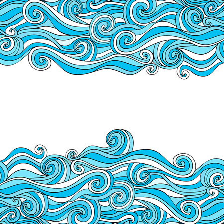 colorful abstract hand-drawn pattern, waves background Vector