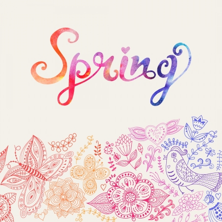 Watercolor floral greeting card with Spring lettering.