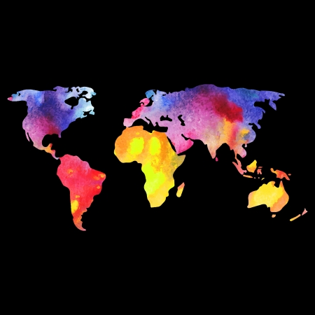World vector map painted with watercolors, painted world map on black background.