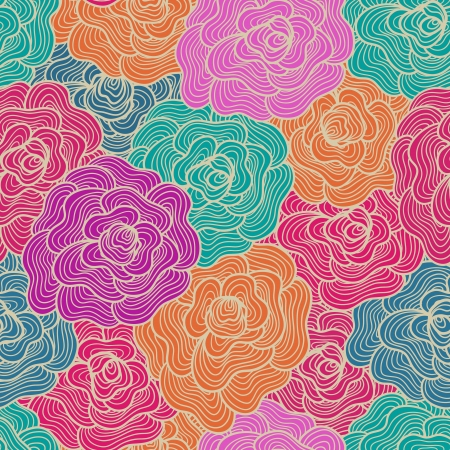 sheep wool: Seamless abstract waves of flowers background.